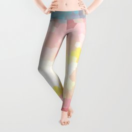 Pink, blue, orange mosaic stained glass background Leggings
