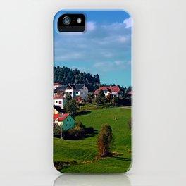 Rural hillside village panorama | landscape photography iPhone Case