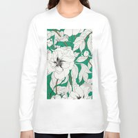 peonies Long Sleeve T-shirts featuring green peonies by Marcella Wylie