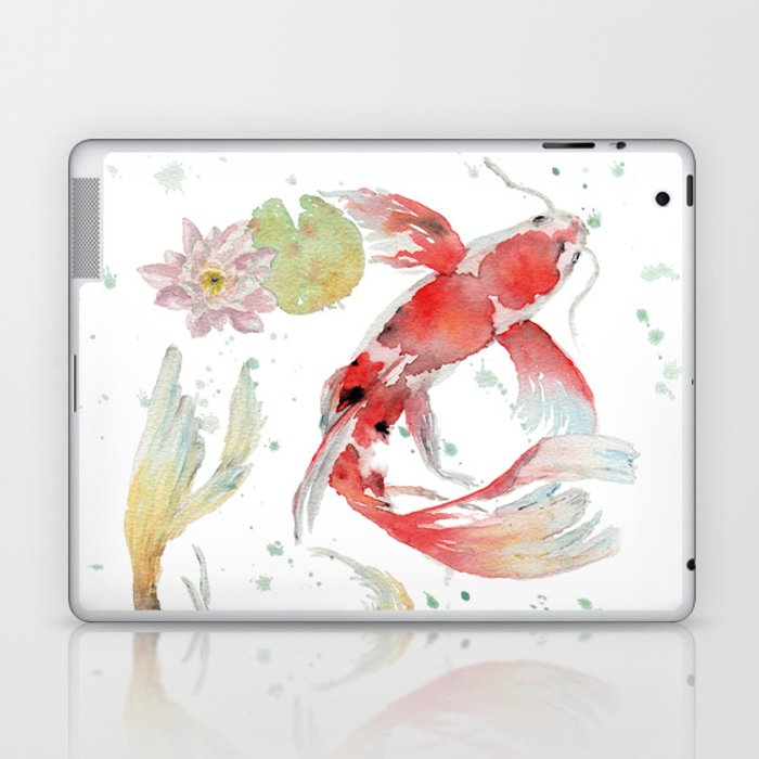 "Watercolor Painting of Picture ""Koi Pond"" Laptop & iPad Skin"