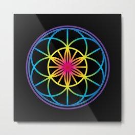 Sacred Symbols Rainbow Chakra Metal Print