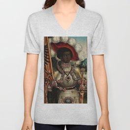 African Masterpiece 'Maurice, Commander of Roman Legion 280 A.D.' Portrait Painting Unisex V-Neck