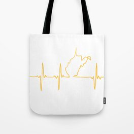 Blue & Gold WV heartbeat Tote Bag