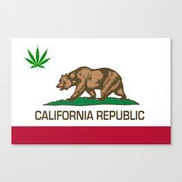 California Republic state flag with green Cannabis leaf Canvas Print