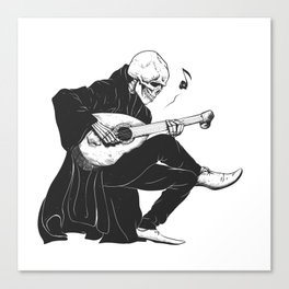 Minstrel playing guitar,grim reaper musician cartoon,gothic skull,medieval skeleton,death poet illus Canvas Print