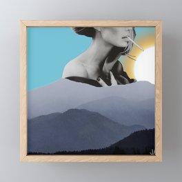 Over The Mountains - Smoking Woman Framed Mini Art Print