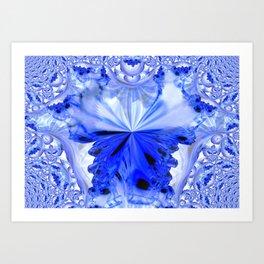 Crystal Blue Fractal Abstract Art Print