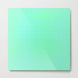 Green On Blue Plaid Metal Print