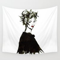 gemma correll Wall Tapestries featuring 'Gemma1' Armani fashion Illustration by Cinnamoncafexx