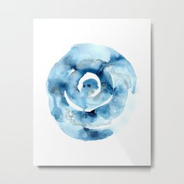 Spring Rain IV Blue Abstract Metal Print