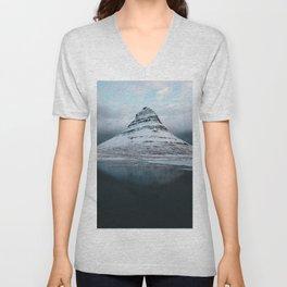 Iceland Mountain Reflection - Landscape Photography Unisex V-Neck