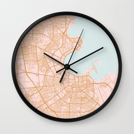Doha map, Qatar Wall Clock