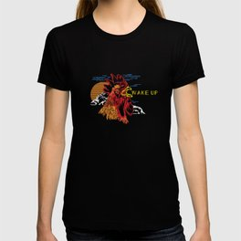 Wake Up Monoline Rooster Graphic T-shirt