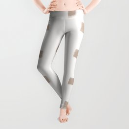 Polka Strokes Gapped - Nude on Off White Leggings