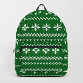 Green Sweater Pattern Backpack