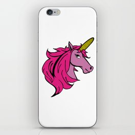 Cartoon Unicorn on the Cob - Pink Cornstalk pun iPhone Skin