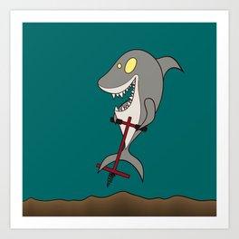 Pogo Shark Art Print