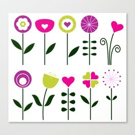 Retro flowers set isolated on white ( black and pink, colorful ) Canvas Print