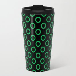 Green Rings with Black Background Travel Mug