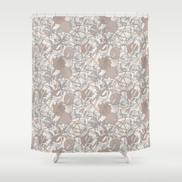 Pale Winter Hues Pomegranate Fruit Branches with Leaves Shower Curtain