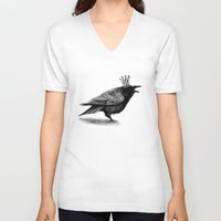 raven V-neck T-shirts featuring Raven by Anna Shell