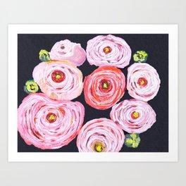 Ranunculus, peony, pink navy floral Art Print