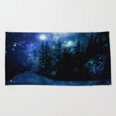 Galaxy Winter Forest Deep Blue Green Beach Towel