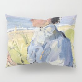 Isaac Lazarus Israels - At The Beach - Portrait Of Martha Salomon - Digital Remastered Edition Pillow Sham