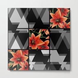 """From the series """" Favorite patchwork """". Lilies on black. Metal Print"""