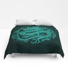 Traditional Teal Blue Chinese Dragon Circle Comforters