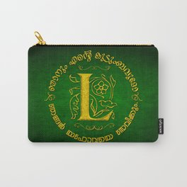 Joshua 24:15 - (Gold on Green) Monogram L Carry-All Pouch