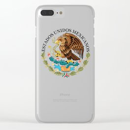 Mexican Flag seal on orange red background Clear iPhone Case