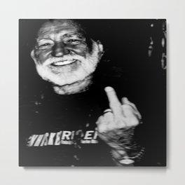 Willie Nelson Finger Poster Sepia Flipping The Bird Metal Print