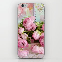Shabby Chic Cottage Pink Floral Ranunculus Peonies Roses Print Home Decor iPhone Skin