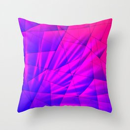 Bright fragments of crystals on irregularly shaped blue and violet triangles. Throw Pillow