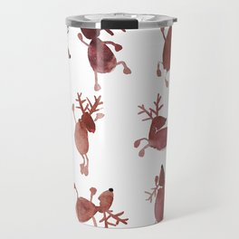 Santa's Dancing Reindeer Watercolor Travel Mug