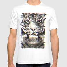Tiger Glitch Mens Fitted Tee White MEDIUM