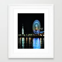 kobe Framed Art Prints featuring Kobe Neon Haze by Dora