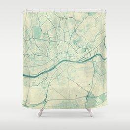 Frankfurt Map Blue Vintage Shower Curtain