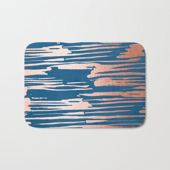 Tiger Paint Stripes - Sweet Peach Shimmer on Saltwater Taffy Teal Bath Mat