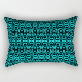 Abstract Pattern Dividers 07 in Turquoise Black Rectangular Pillow