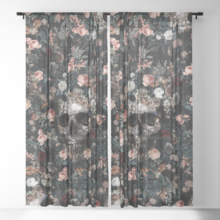 Skull and Floral pattern Sheer Curtain