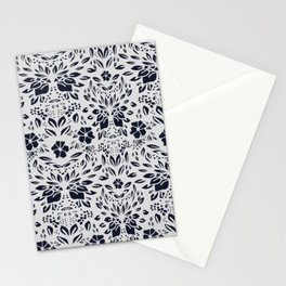 Abstract Geometric - kind of damasc french style wallpaper  - Gray and Black Stationery Cards