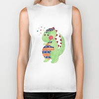 trex Biker Tanks featuring Green Dino by haidishabrina