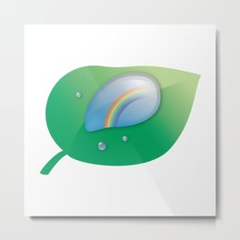 Rainbow reflected in a Drop of water Metal Print