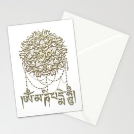 Golden Mani Mantra With Mandala Stationery Cards