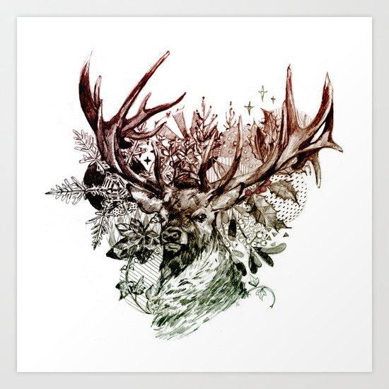 Seasonal Stag Art Print