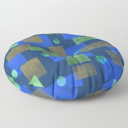 Blue Squares and Circles Floor Pillow