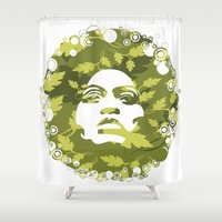 afro Shower Curtains featuring Natural Afro by Chamber Decals