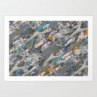 battlestar Art Prints featuring Battlestar by Guy Warley